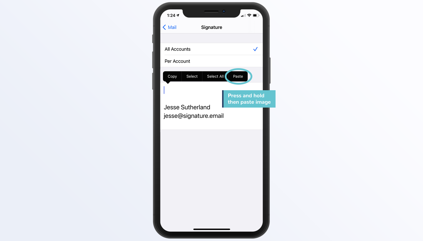 add signature to iPhone Mail step 6