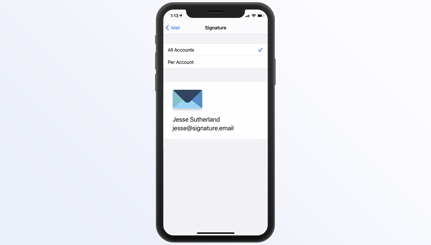 add signature to iPhone Mail step 7