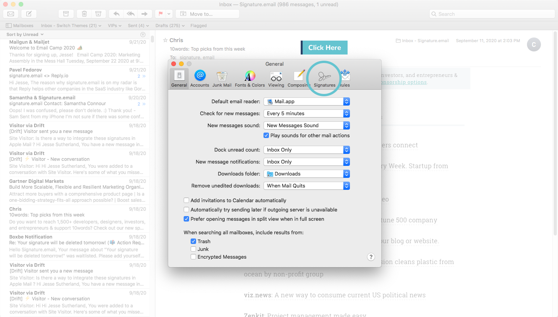 add signature to mac mail step 2