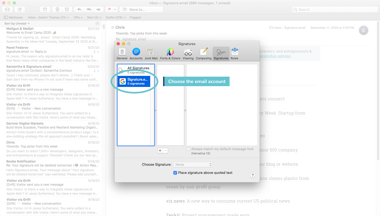 add signature to mac mail step 3