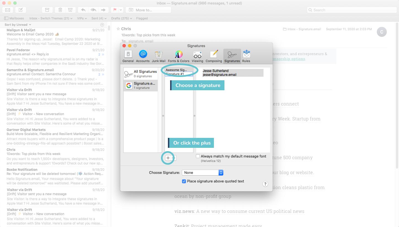 add signature to mac mail step 4