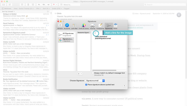 add signature to mac mail step 5