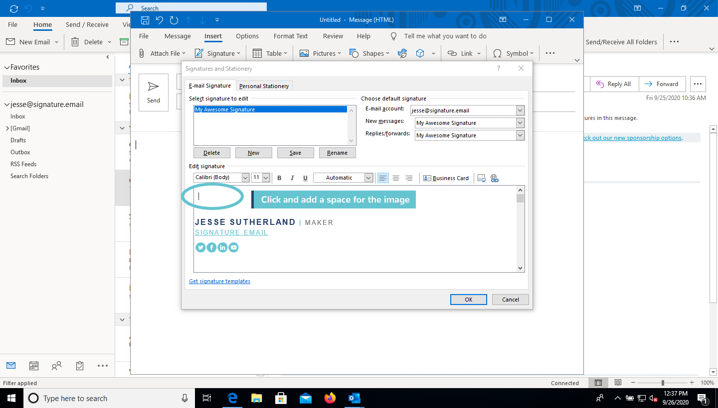 add image to email signature in Outlook step 4