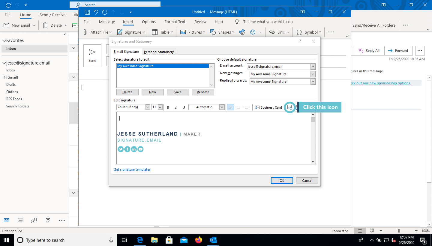 add image to email signature in Outlook step 5