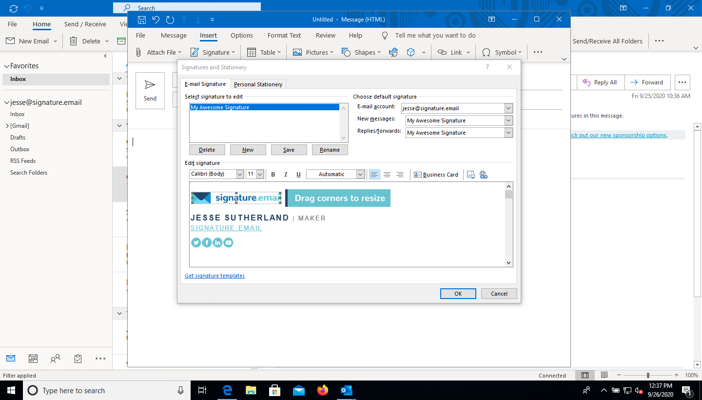 add image to email signature in Outlook step 7