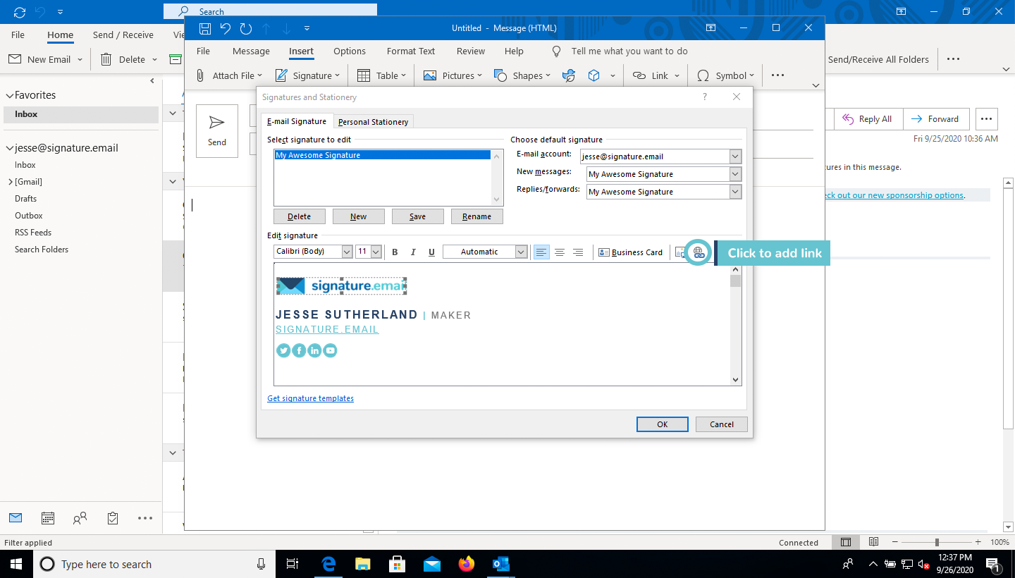 add image to email signature in Outlook step 8