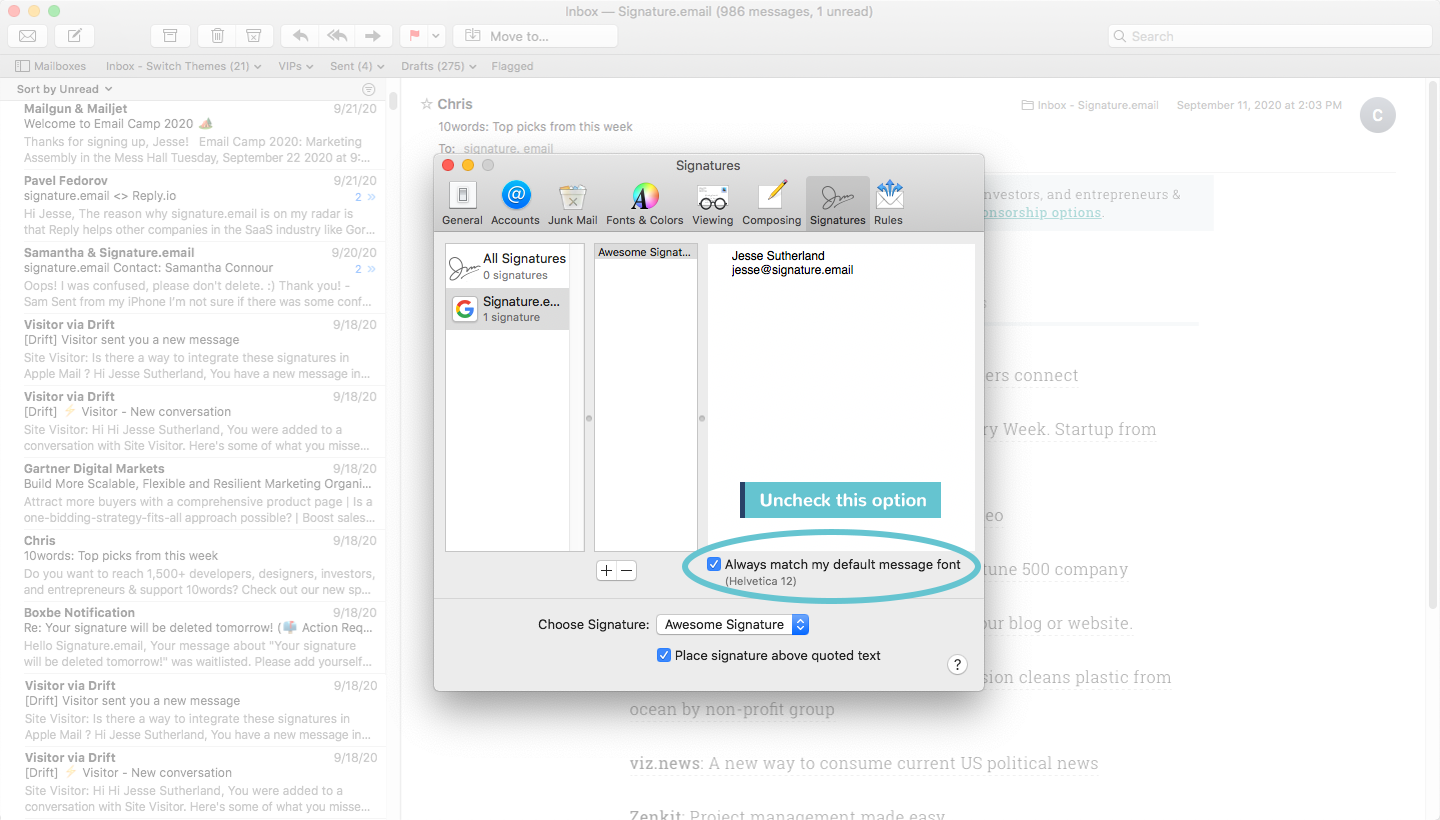 add signature to mac mail step 6