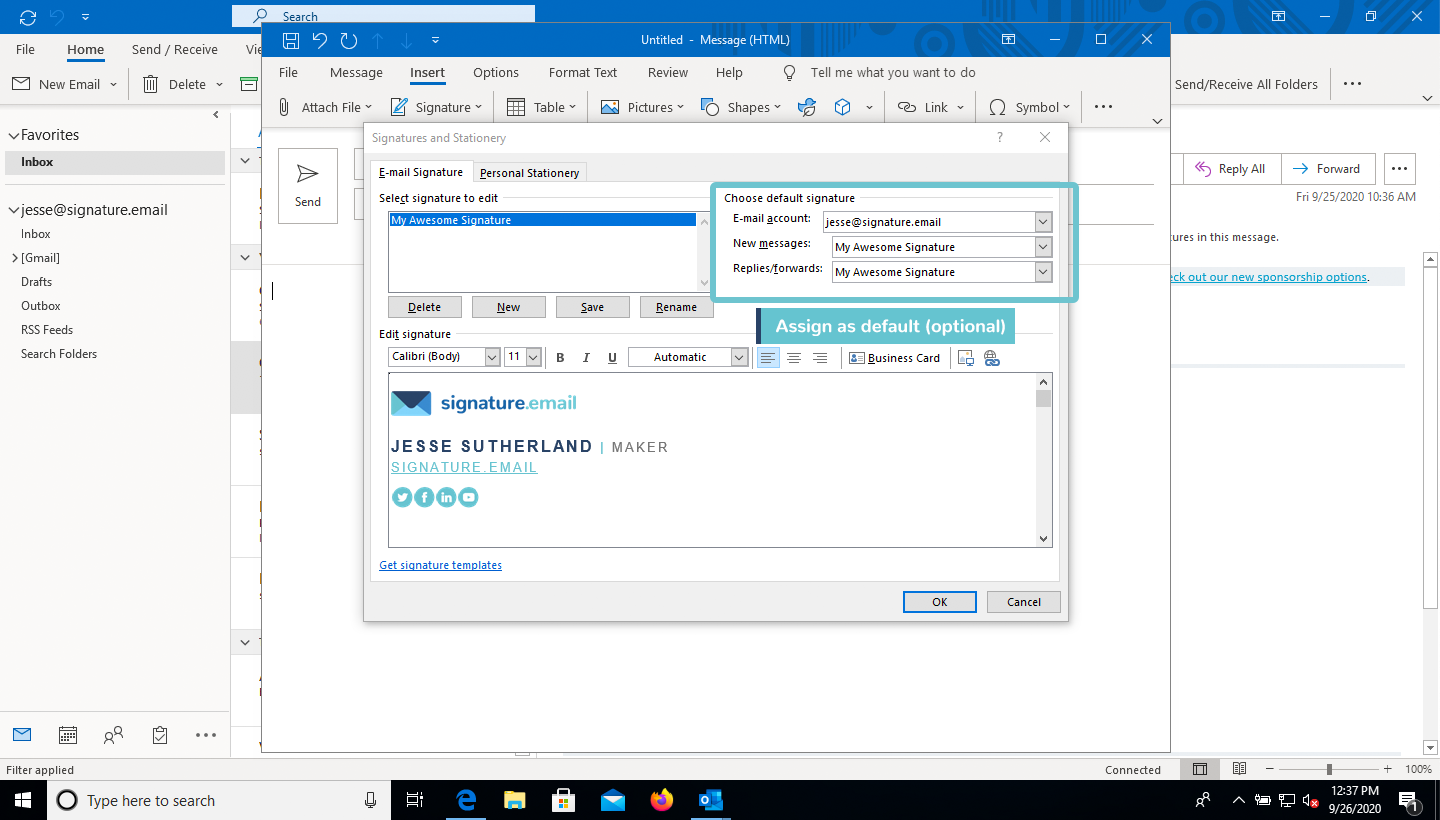 add signature to Outlook step 7