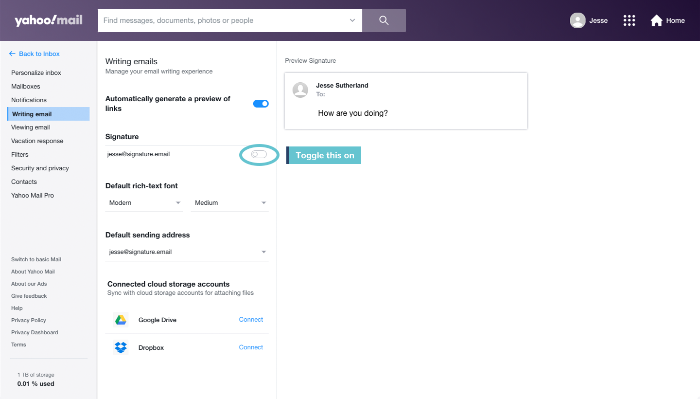 add signature to Yahoo Mail step 4