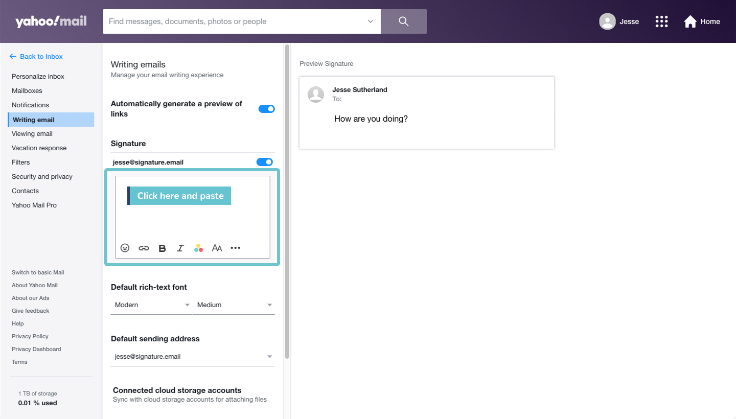 add signature to Yahoo Mail step 5