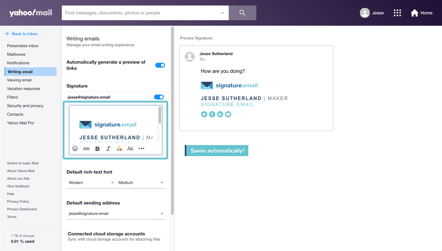 add signature to Yahoo Mail step 6