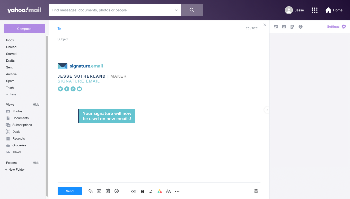 add signature to Yahoo Mail step 7