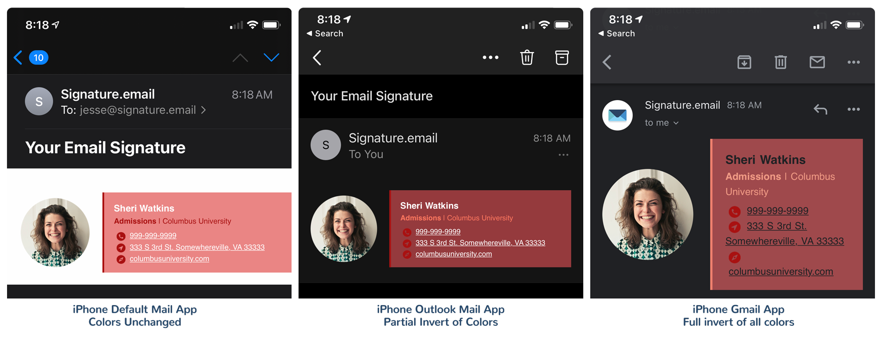 Dark Mode Colors Get Inverted In Email Signatures