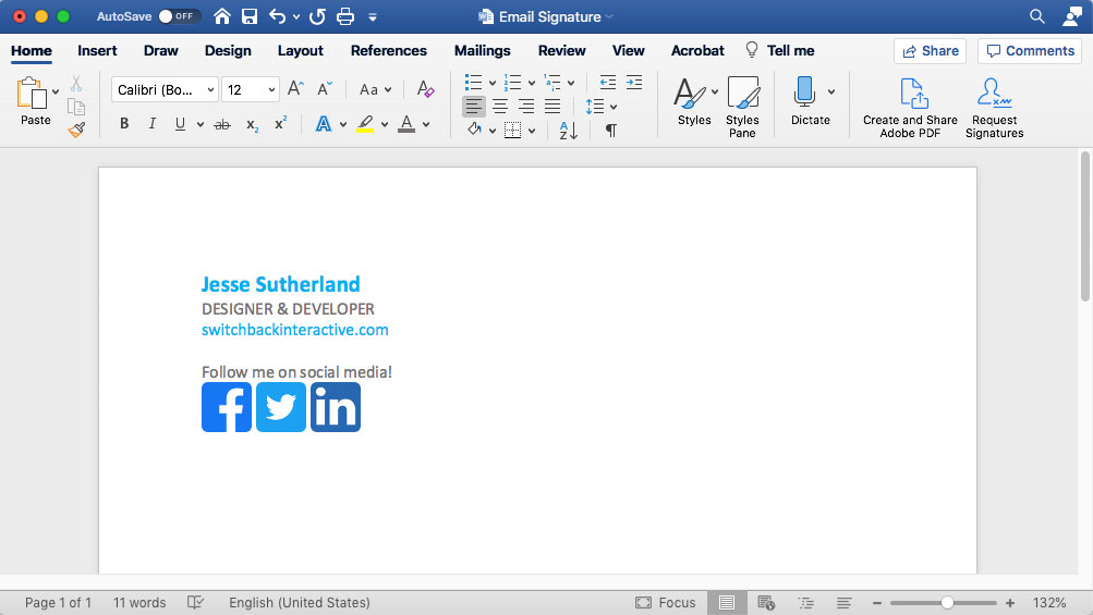 Create email signature in Microsoft Word