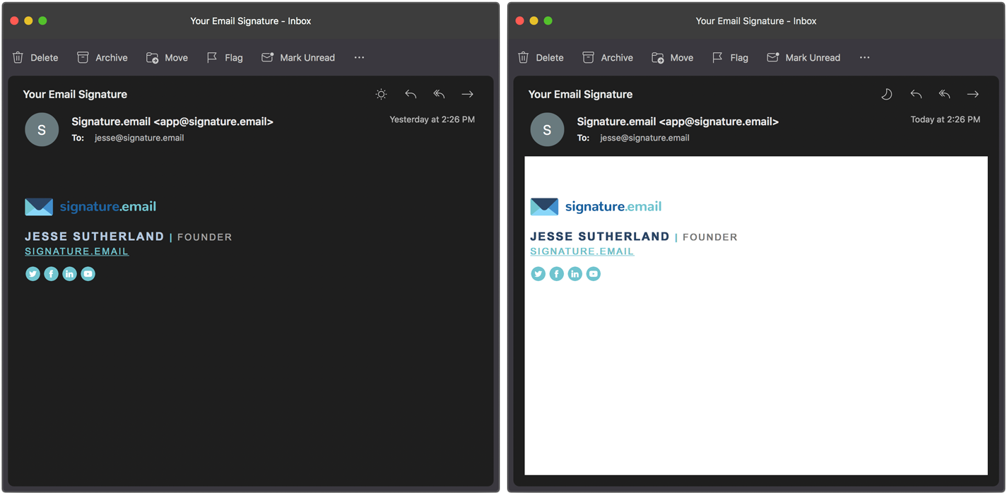 Outlook Email Signature Dark Mode